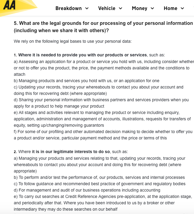 The AA GDPR Privacy Policy